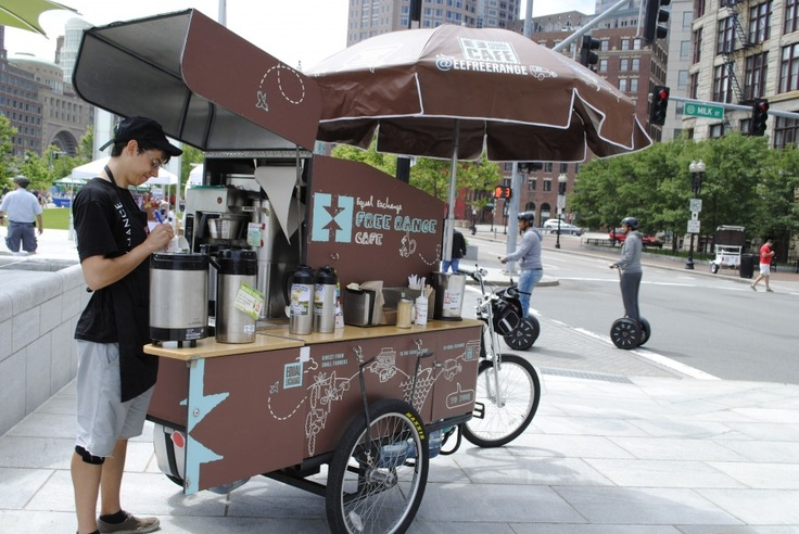 An ideal world; free coffee, and people on wheely scooters.