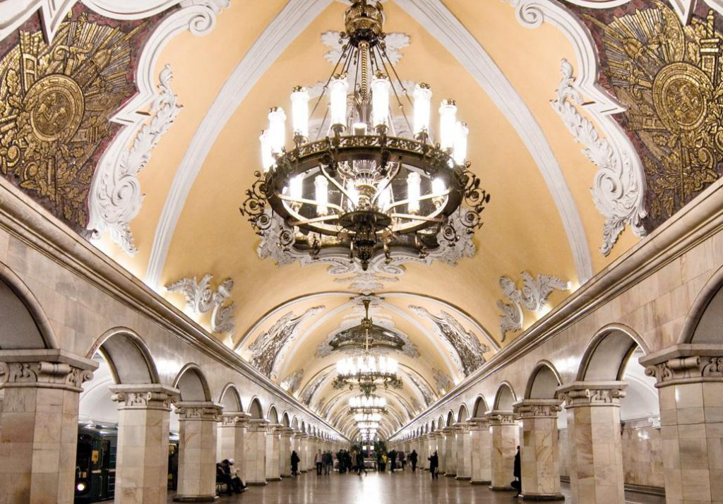 Who has chandeliers in their train stations??