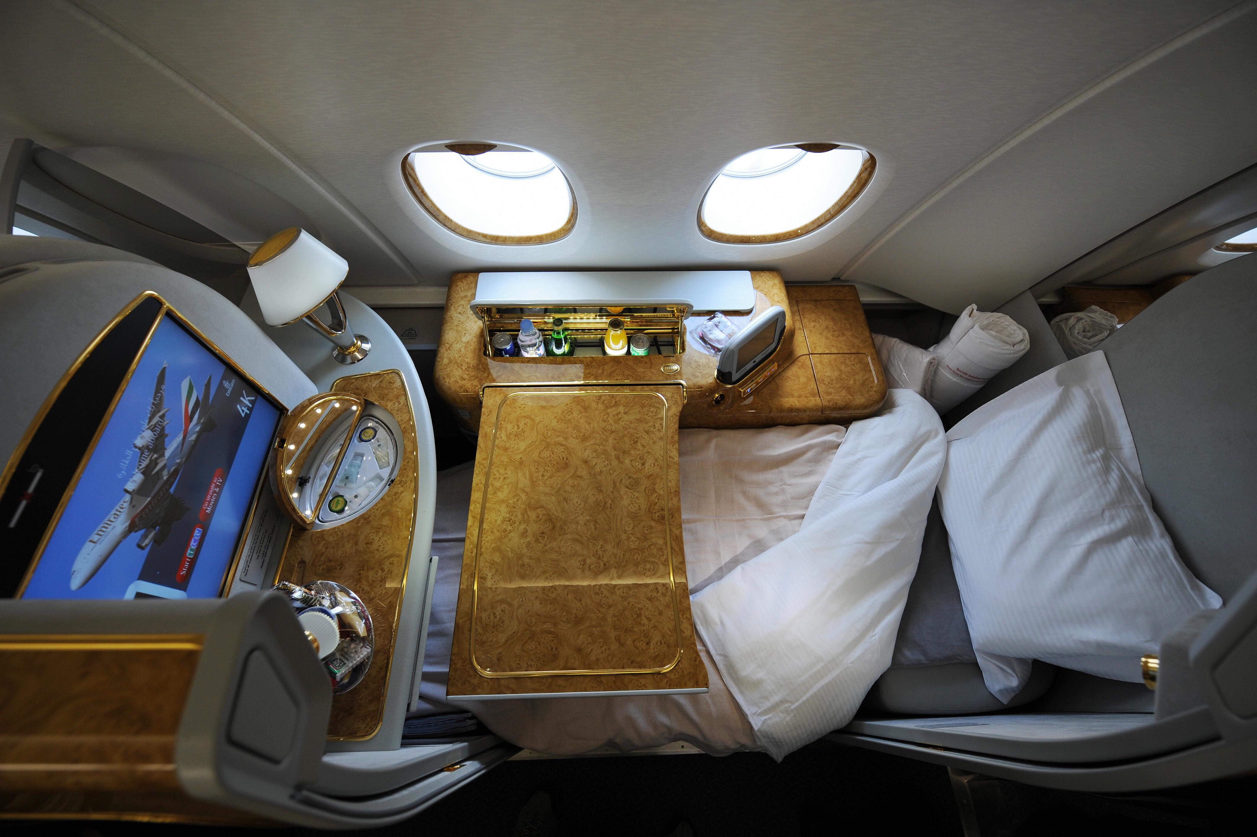 A first class seat configured for sleepi