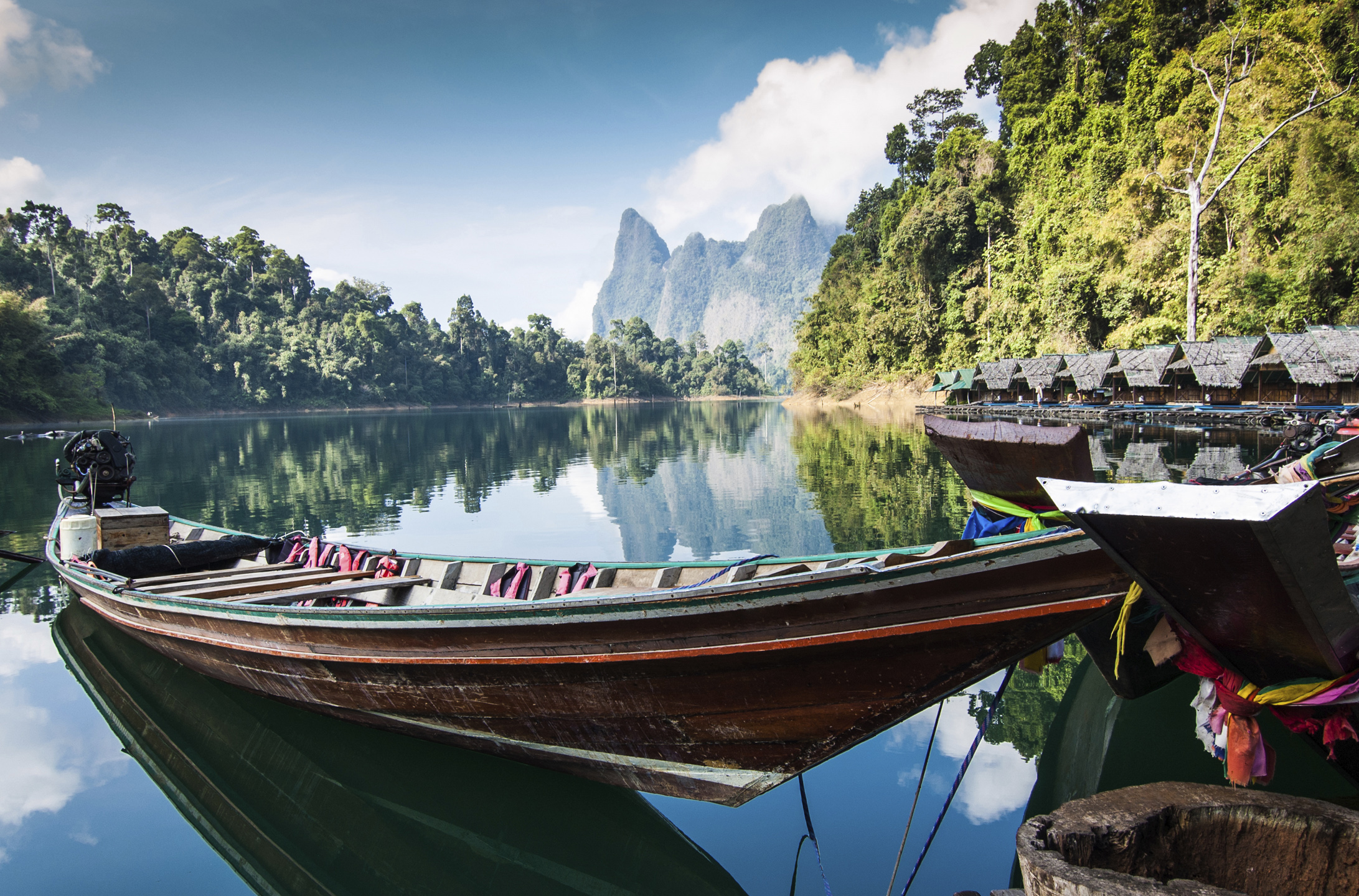 Long tail boat & cabins, Khao Sok National Park