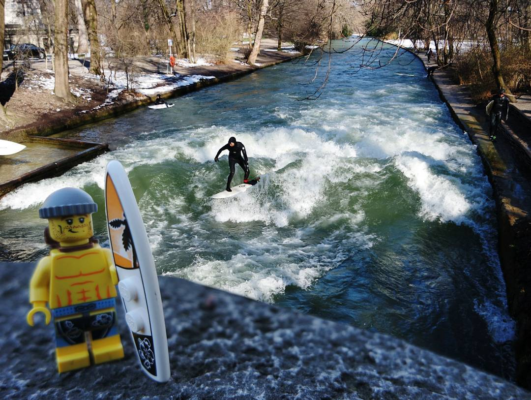 Went surfing in the snow at Eisbach, Munich, Germany