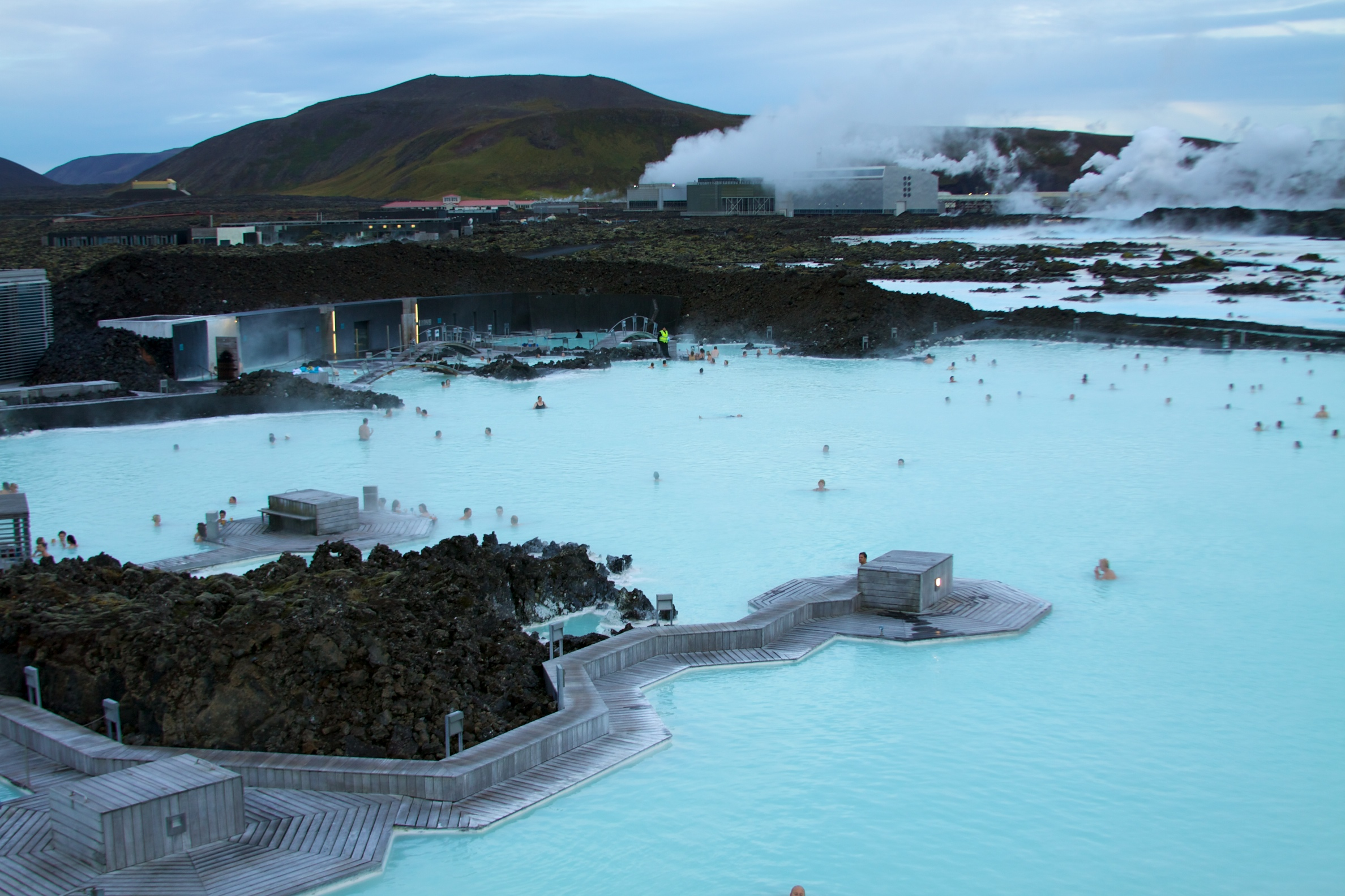 The lovely thermal waters of Iceland's understandably famous Blue Lagoon. The geothermal power plant visible in the back supplies much of the power to Reykjavik, and of course the hot, rejuvinating waters of the Blue Lagoon itself.